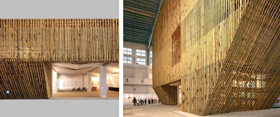 Pabellón temporal de bambú, aeropuerto de Taichung. Arquitectura viva.
