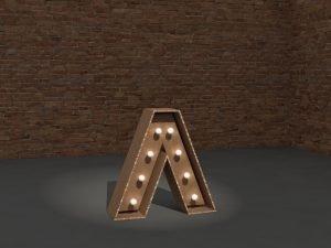 Letra corpórea iluminada Cardboard