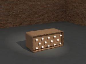 banco con bombillas sin persona